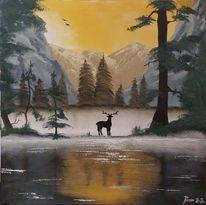 Hirsch, Baum, Ölmalerei, Licht