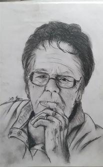 Menschen, Schwarzkreide, Portrait, Zeichnung