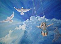 Kind, Schaukel, Wolken, Freiheit