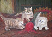 Katze, Acrylmalerei, Britisch kurzhaar, Malerei