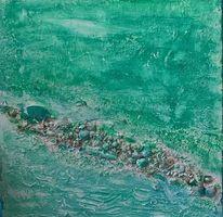 Strandgut am morgen, Acrylmalerei, Collage, Mischtechnik