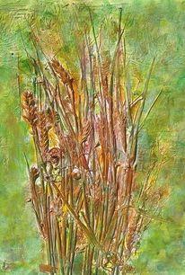 Getreidefeld, Collage, Acrylmalerei, Mischtechnik