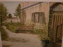 Haus, Garten, Bank, Malerei