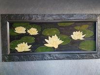 Seerosen, Wasser, Teich, Malerei