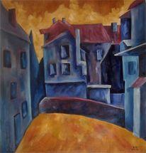 Dramatisch, Malerei, Öl auf holz, Hinterhof