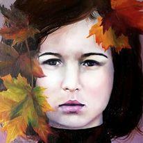 Mädchen, Ölmalerei, Herbst, Malerei