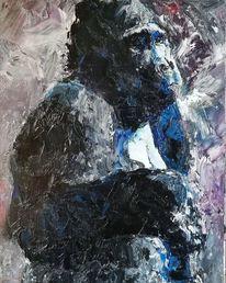 Gorilla, Spachtel, Ölmalerei, Affe schimpanse