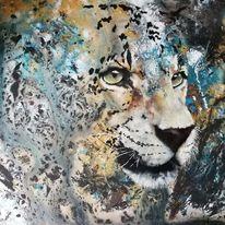 Mixed media, Pouring, Leopard, Acrylmalerei