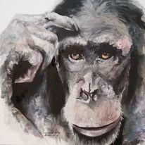 Malerei, Tiere, Ölmalerei, Affe