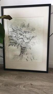 Schwarz, Baum, Pinnwand