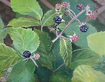 Pflanzen, Acrylmalerei, Brombeere, Malerei