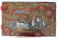 Hände, Handabzug, Orange, Steinplatten