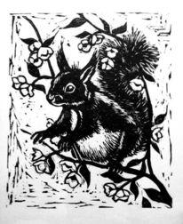 Linolschnitt sw, Eichhörnchen, Zweig, Tiere