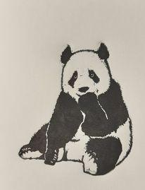 Linolschnitt, Panda, Bär, Tiere