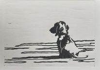 Warten, Linolschnitt, Dackel, Hund