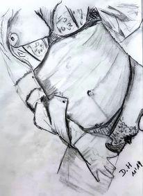 Frau, Bleistiftzeichnung, Akt, Zeichnungen