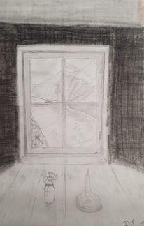 Landschaft, Fenster, Bleistiftzeichnung, Malerei
