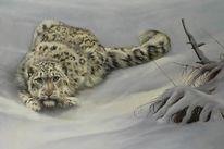 Schneeleopard, Winter, Raubkatze, Ölmalerei