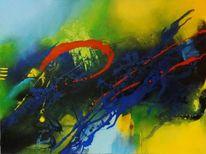 Gelb, Rot, Acrylmalerei, Blau
