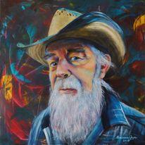 Mann, Acrylmalerei, Cowboy, Portrait