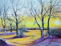 Morgensonne, Winter, Winterlandschaft, Baum