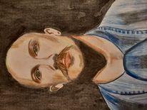 Portrait, Kohlezeichnung, Charlie bronson, Malerei