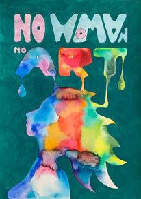 Frau, Aquarellmalerei, Farben, Aquarell