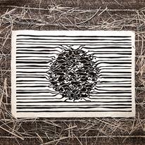 Schwarz, Schwarzweiß, Linolschnitt, Abstrakt