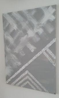 Grau, Blattmetall, Weiß, Glitzer