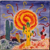 Acrylmalerei, Kaktus, Wüste, Malerei