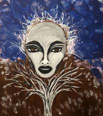 Gesicht, Baum, Malerei,