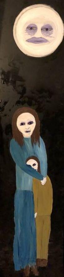 Mutter, Kind, Mond, Malerei