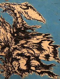 Vogel, Verwirrung, Malerei,