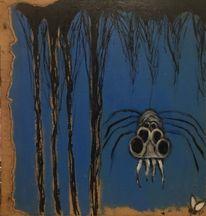 Spinne, Fliege, Nacht, Malerei