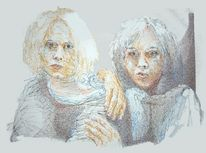 Kopf, Hand, Farben, Portrait