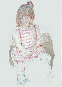 Kind, Kopf, Hand, Portrait