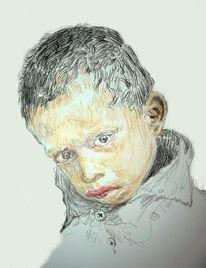 Kind, Kopf, Farben, Portrait