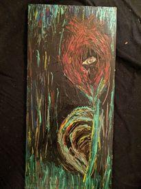 Acrylmalerei, Holz, Blumen, Augen
