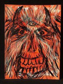 Acrylmalerei, Anblick, Gesicht, Malerei