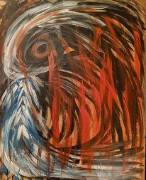 Feuer, Untergang, Vogel, Malerei