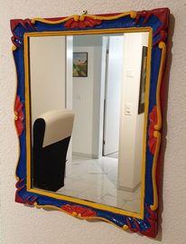 Rot, Spiegel, Blau, Acrylmalerei