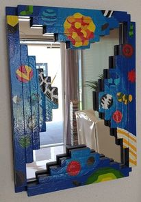 Malerei abstrakt, Spiegel, Blau, Holz