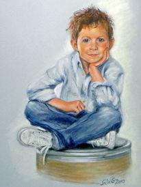 Portrait, Menschen, Kind, Jeans