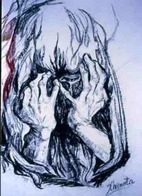 Kreide auf papier, Die traurige mutter, Zeichnung, Menschen