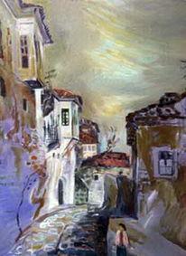 Landschaft, Gasse, Malerei,