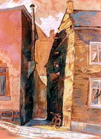 Malerei, Gasse2, Pastellkreide auf künstlerpapier