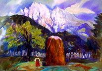 Landschaft, Heuschoberin, Malerei,