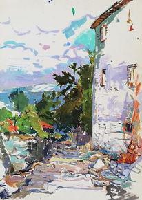 Landschaft, Landhaus, Aquarel auf künstlerpapier, Aquarell