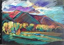 Pastellkreide auf künstlerpapier, Malerei, Landschaft