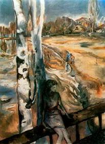 Landschaft, Pastellkreide auf papier, Malerei